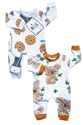DORUKO BABY %100 Pamuk Cookie Koala 2'li Bebek Tulum Seti