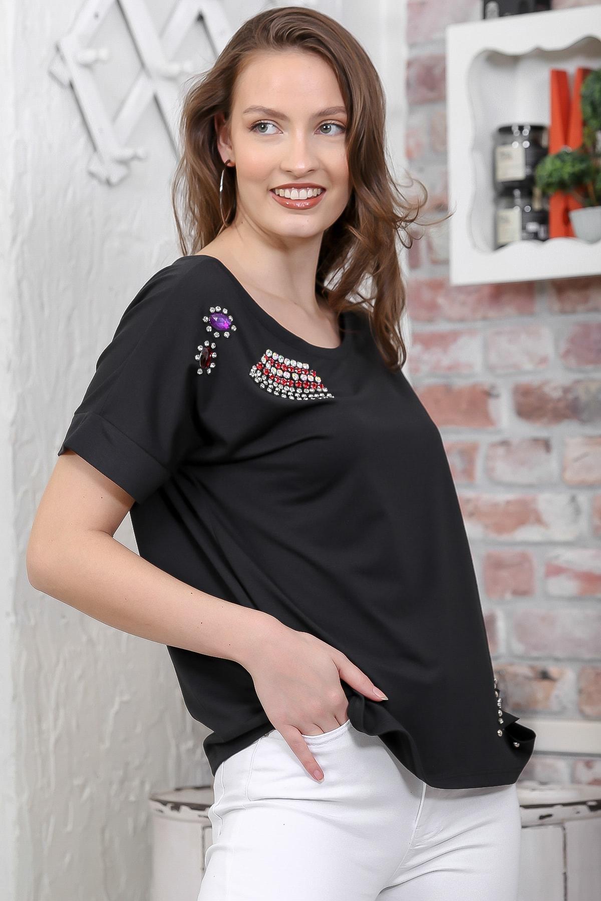 Chiccy Kadın Siyah Kristal Taş İşlemeli Salaş Düşük Kol T-Shirt M10010300TS98272