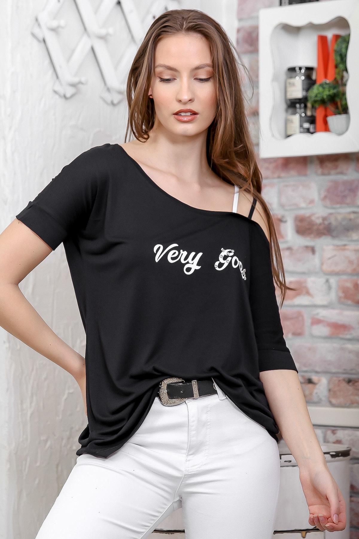 Chiccy Kadın Siyah Kayık Yaka Tek Omuz Askı Detaylı Salaş T-Shirt M10010300TS98262