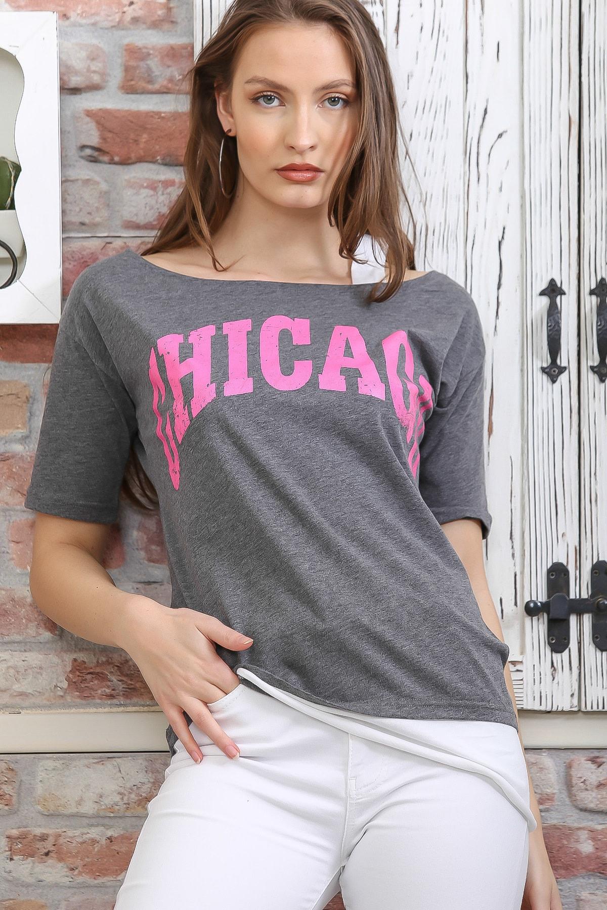 Chiccy Kadın Gri Chıcago Baskılı Tek Omuz Askılı Etek Ucu Bloklu T-Shirt M10010300TS98274