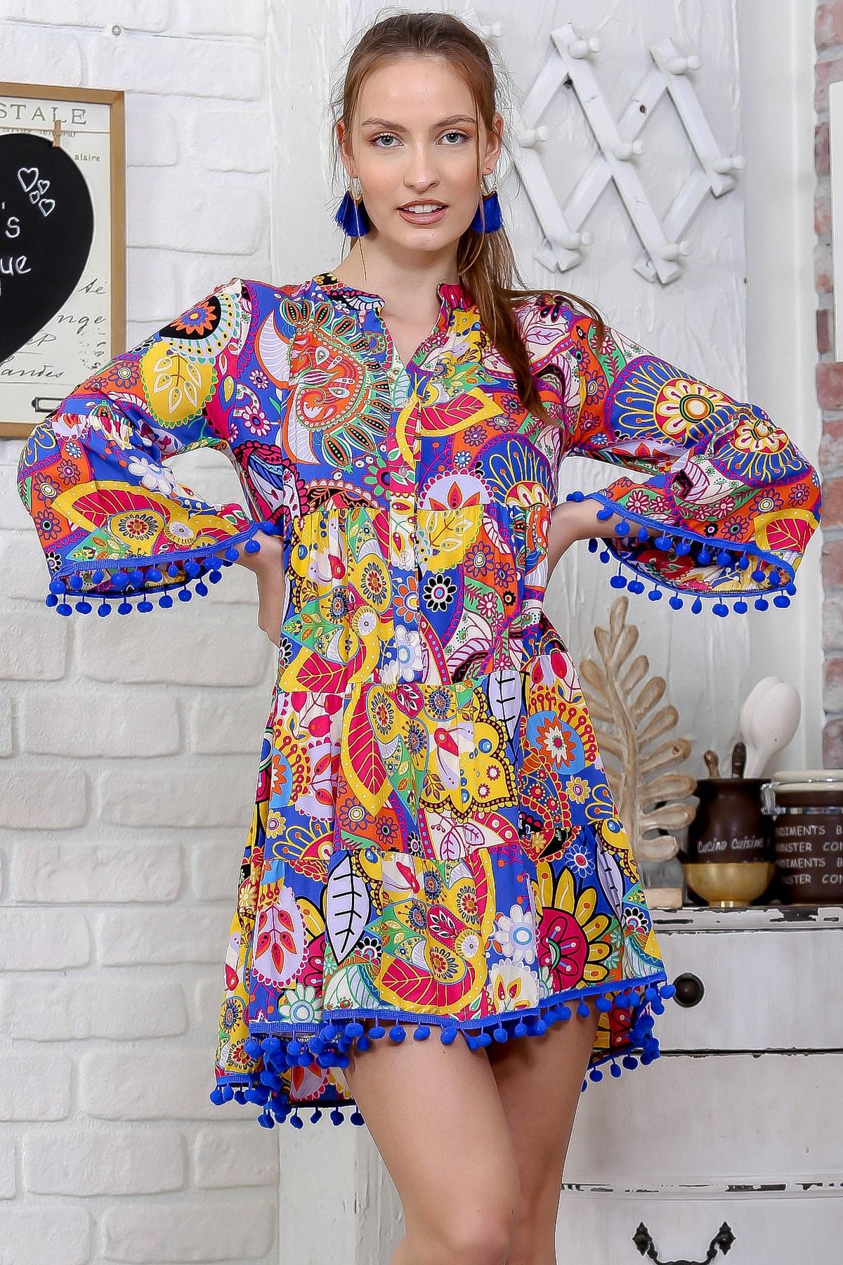 Chiccy Kadın Mor Patı Düğme Detaylı Kolları Ve Etek Ucu Ponponlu Salaş Elbise M10160000EL95775