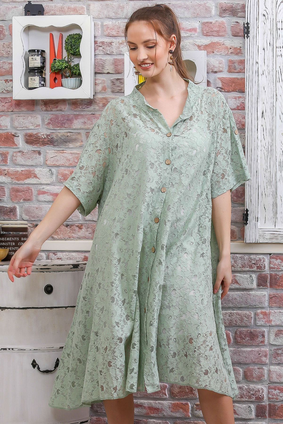 Chiccy Kadın Mint Dantel Düğme Detaylı Salaş İçi Askılı İkili Elbise M10160000EL95089