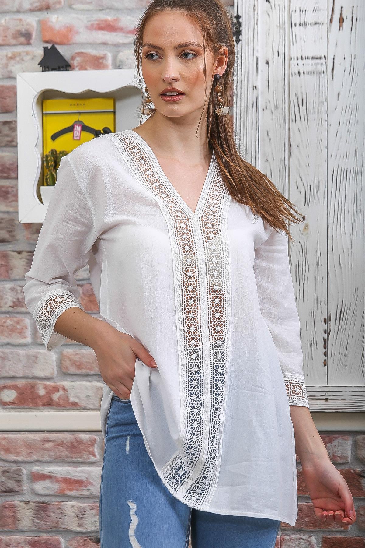 Chiccy Kadın Beyaz Dantel Şerit Detaylı 3/4 Kol Dokuma Bluz M10010200BL95437