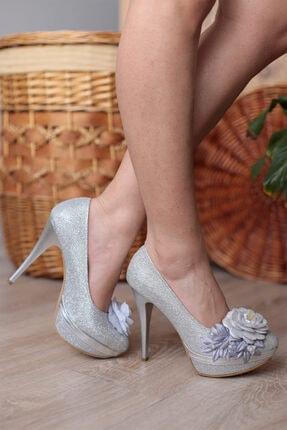 PUNTO Kadın Gümüş Gül Detaylı Topuklu Ayakkabı