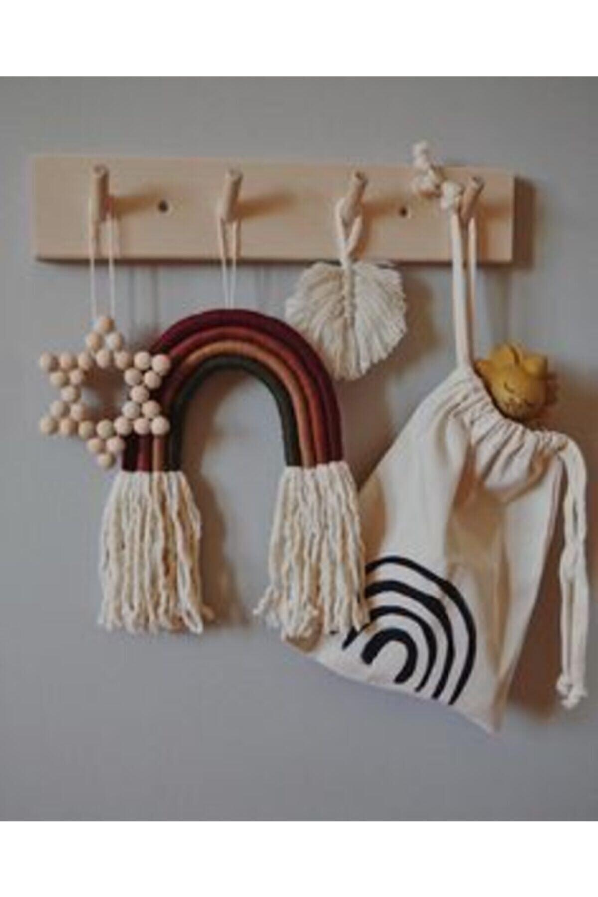Lina Ahşap Diyarı Ahşap Modern Duvar Askılık Montessori Askılık 1