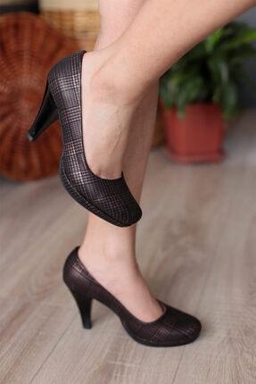 PUNTO Kadın Siyah Bronz Platform Topuklu Ayakkabı