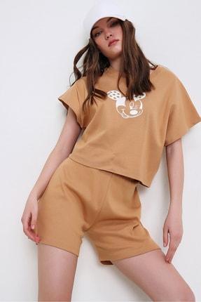 Trend Alaçatı Stili Kadın Bisküvi Bisiklet Yaka Baskılı Şortlu Pijama Takımı ALC-X6323