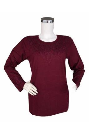 KIYAFET Anne Penye Bluz Yakası Parça Desenli