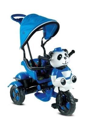 BabyHope Unisex Mavi 127 Little Panda Ebeveyn Kontrollü Tenteli Müzikli Tricycle Üç Teker Bisiklet