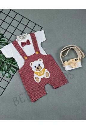 Beren Kids Ayıcık Desenli Papyonlu Çizgili Bebek Slopet Takım