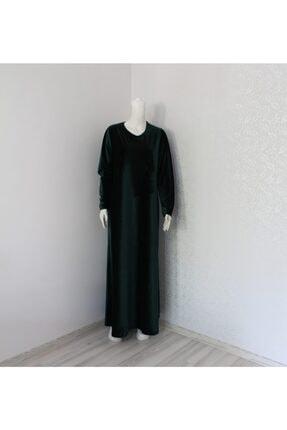 BUENO Kadın Yeşil Anne Boydan Kadife Elbise