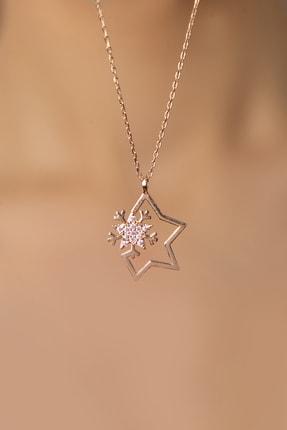 Elika Silver Kadın Kar Tanesi Detaylı Yıldız Model 925 Ayar Gümüş Kolye