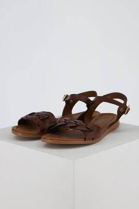 DeFacto Kadın Kahverengi Çift Bantlı Sandalet