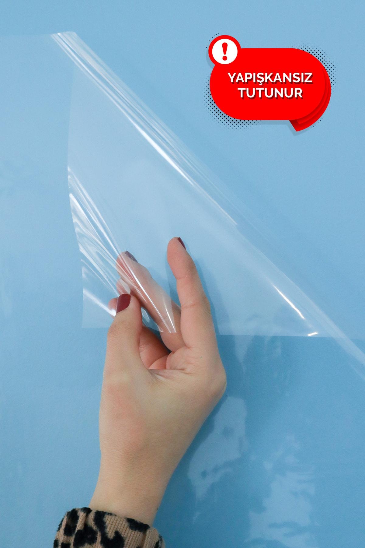 Evbuya 100x150 cm Şeffaf Yapışkansız Statik Tutunabilir Akıllı Kağıt Tahta 2 Adet 2