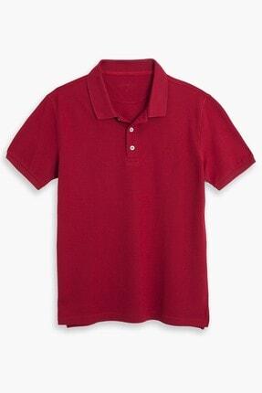 hateko Erkek Kırmızı %100 Pamuk Klasik Kesim Polo Yaka Tişört