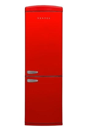 Vestel RETRO NFK37001 KIRMIZI No-Frost Kombi Buzdolabı