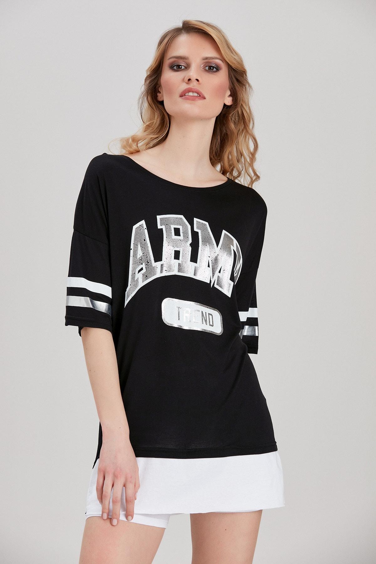 Y-London Kadın Siyah Yazı Baskılı T-Shirt YL-TS99823