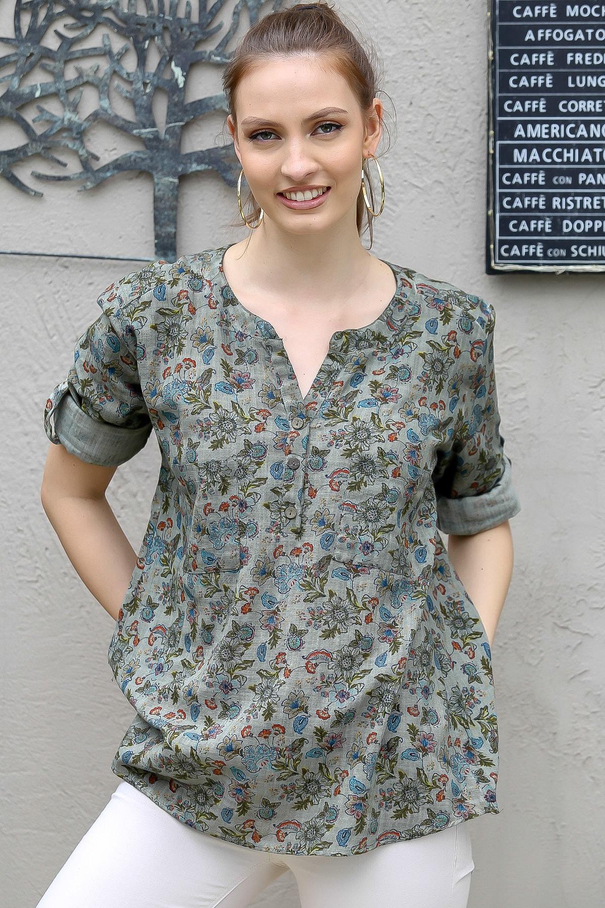 Chiccy Kadın Haki Patı Düğmeli Çiçek Desen Cepli Kolları Ayar Düğmeli Dokuma Bluz M10010200BL95428