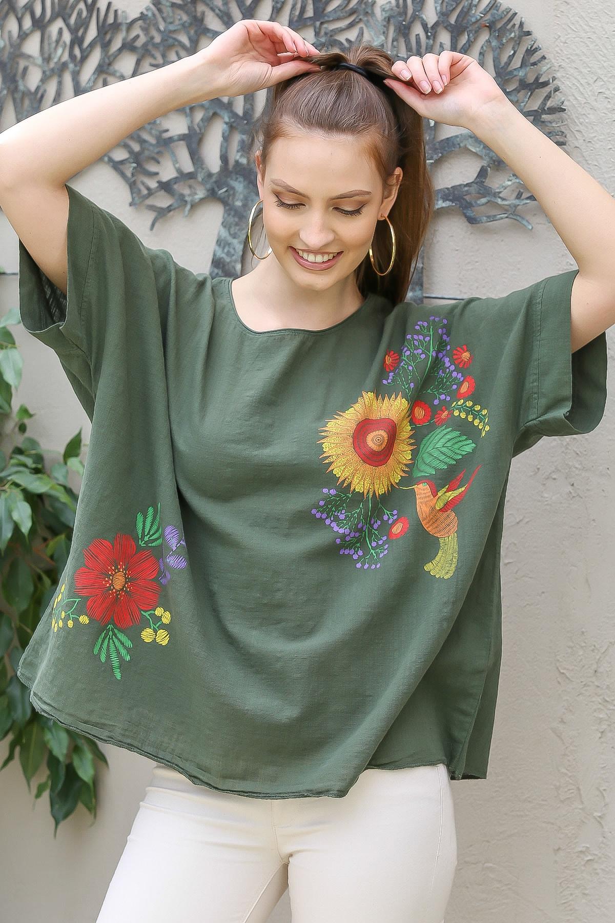 Chiccy Kadın Haki Sıfır Yaka Günebakan Çiçek Desenli Salaş Dokuma Bluz M10010200BL95412