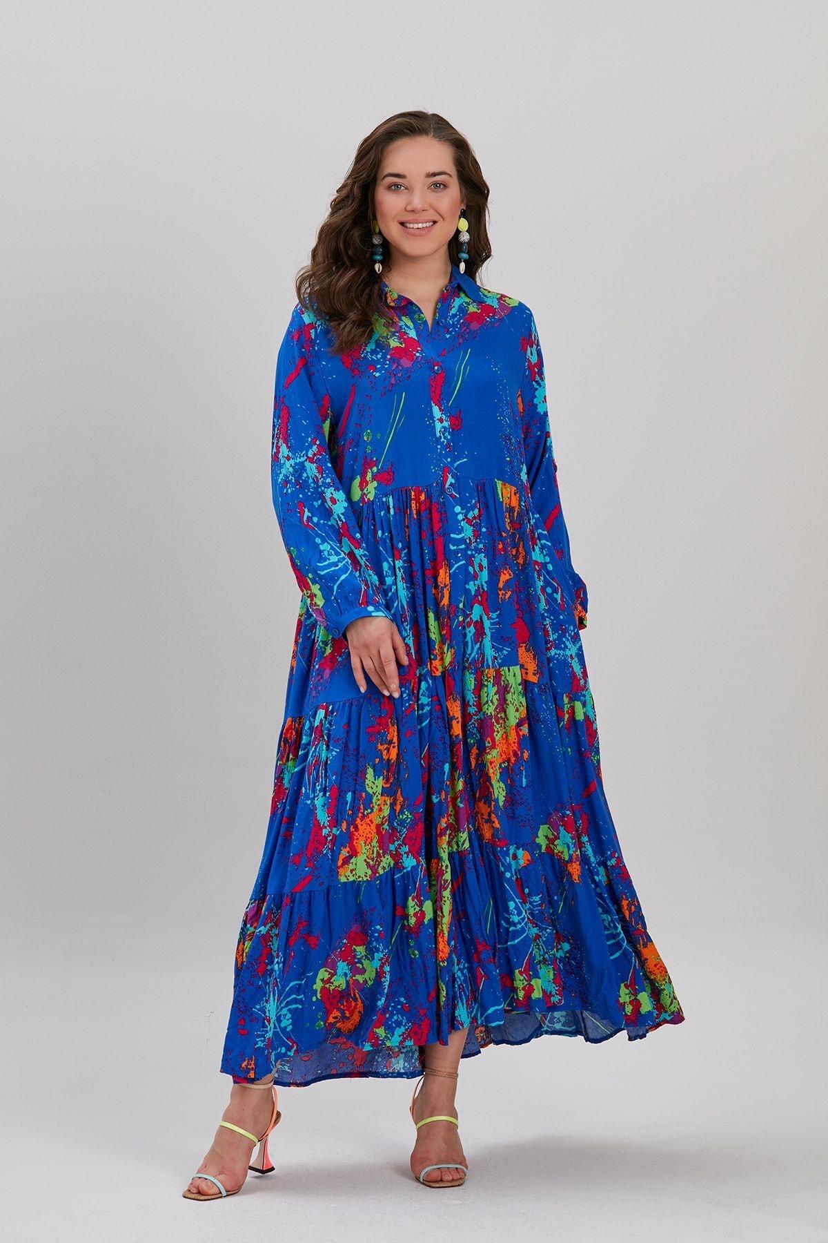 Y-London Kadın Lacivert Etnik Desen Uzun Elbise YL-EL99867
