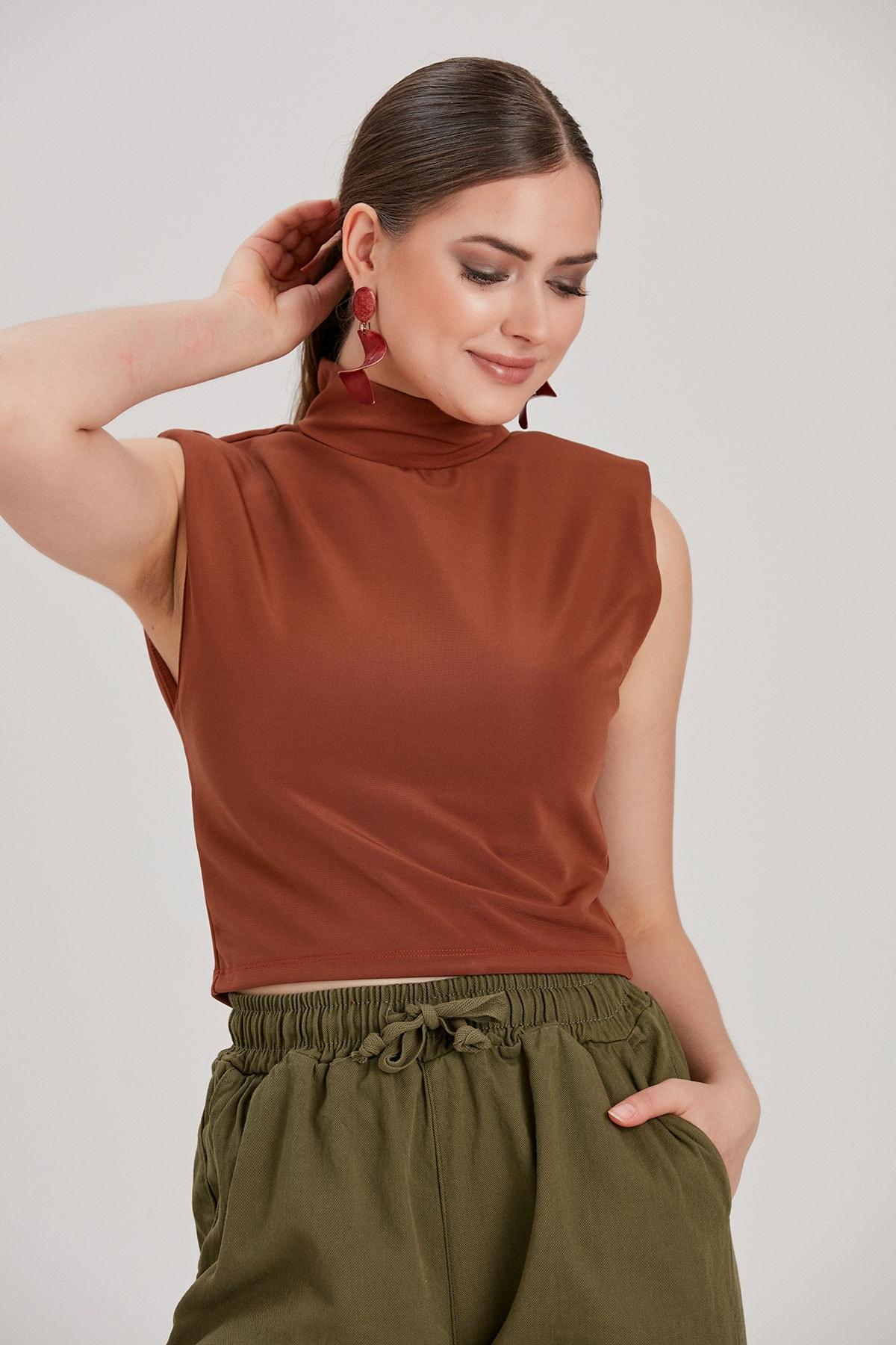Y-London Kadın Kahverengi Vatkalı Bluz YL-BL99624