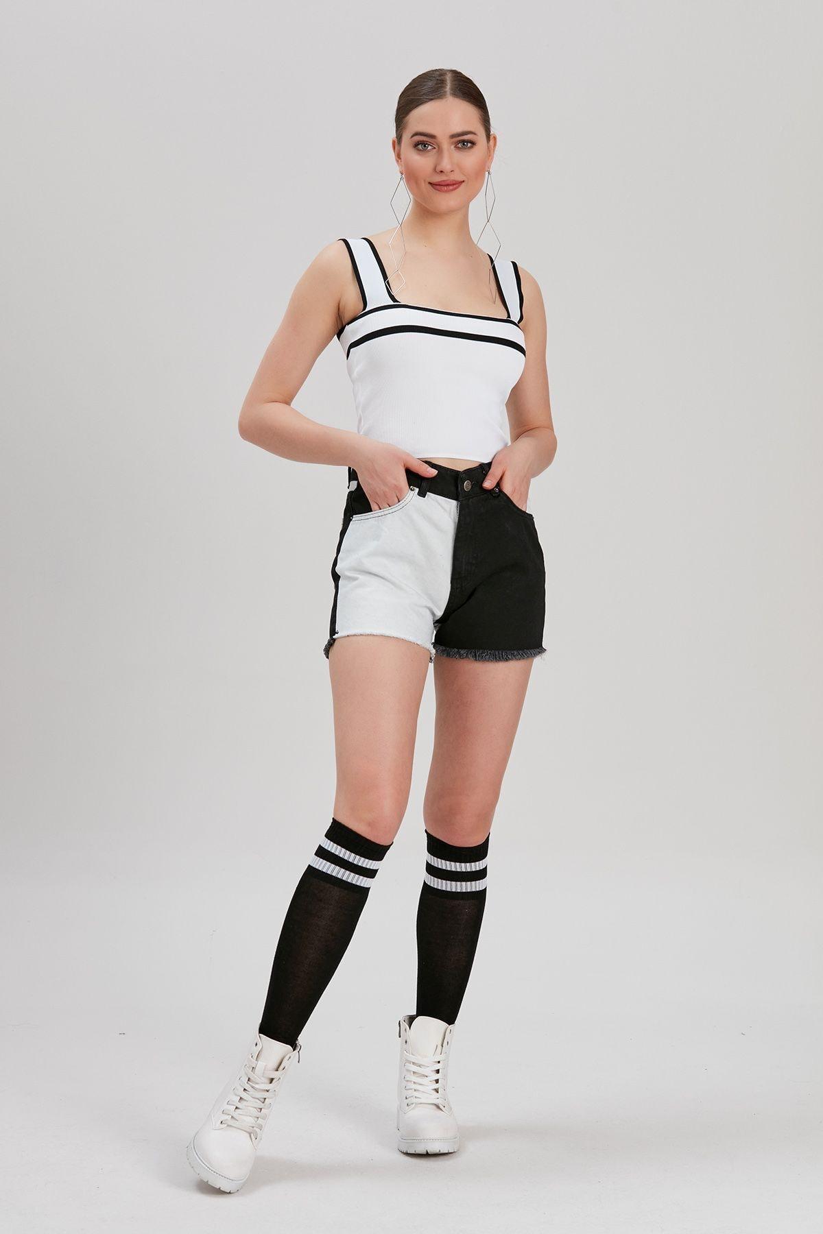 Y-London Kadın Siyah-Beyaz Renk Bloklu Kot Şort YL-PN99853