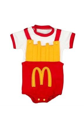 Babyboy Kız Erkek Bebek Badi Patates Cips Görselli - Kırmızı - 3-6 Aylık