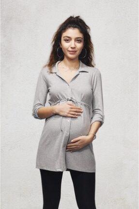 MERLİYN GİYİM Kadın Merliyn Önden Düğmeli Bağcıklı Hamile Gömlek