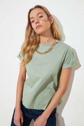 TRENDYOLMİLLA Mint Zincirli Örme T-Shirt TWOSS21TS2631