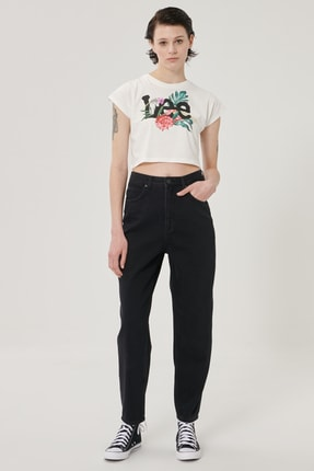 Lee Kadın Siyah Stella Tapered Fit Denim Esnek Jean Kot Pantolon