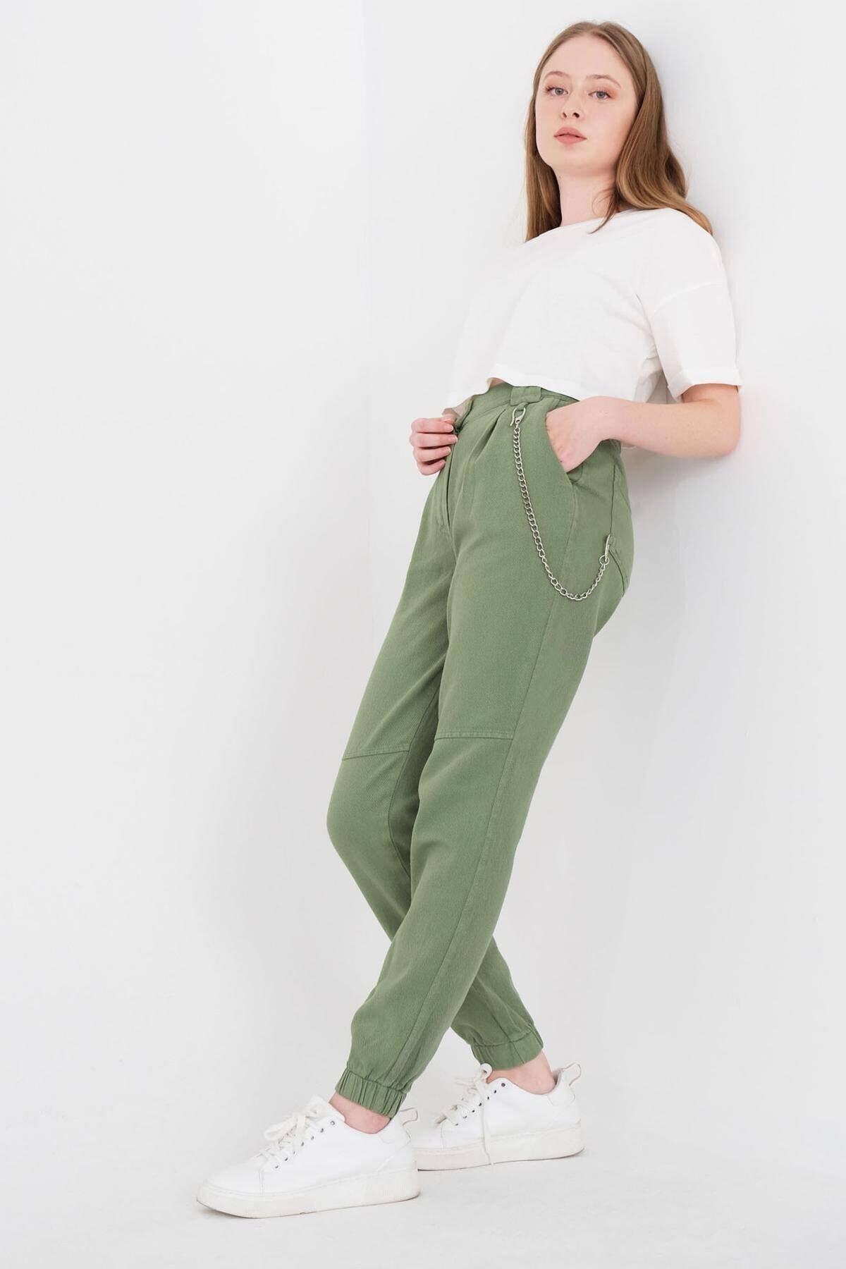 Addax Kadın Yeşil Zincir Detaylı Pantolon Pn01-0073 - S11 Adx-0000024102