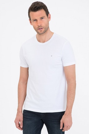 Pierre Cardin Beyaz Slim Fit Bisiklet Yaka Basic T-Shirt
