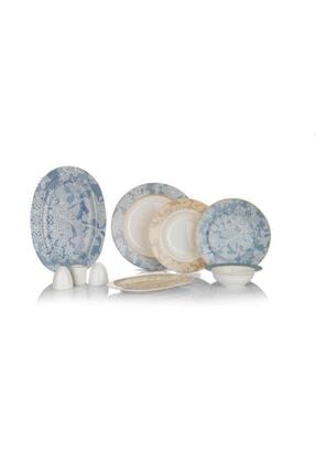 Schafer Dante 55 Prç 12 Kişilik Bone Porselen Yemek Takımı Gri