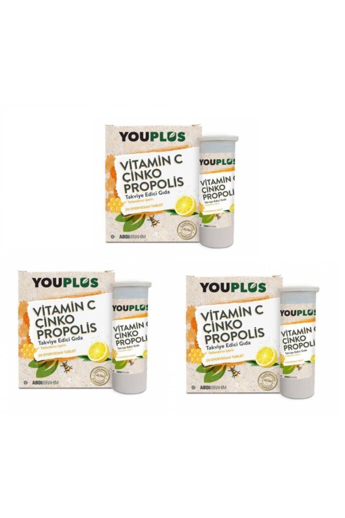 Youplus Vitamin C Çinko Propolis 20 Efervesan Tablet 3 Paket 1