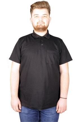 ModeXL Erkek Siyah Polo Yaka Cepli Klasik T-shirt 20550