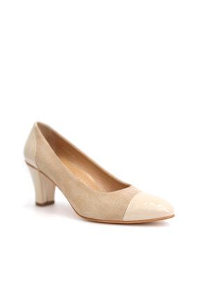 Beta Shoes Hakiki Deri Kadın Krem Topuklu