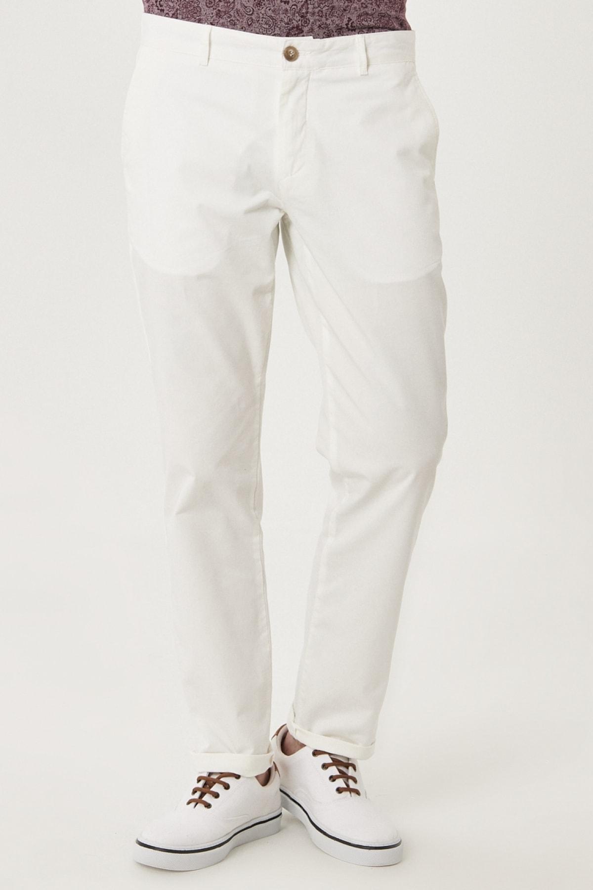ALTINYILDIZ CLASSICS Erkek Beyaz Kanvas Slim Fit Chino Pantolon 1