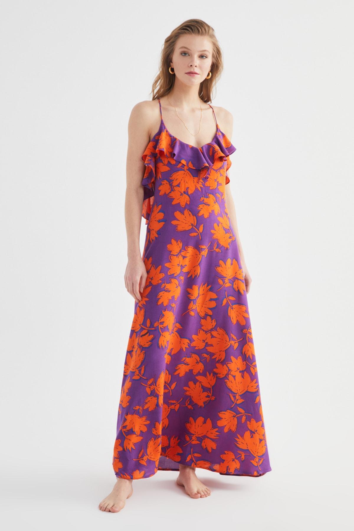 TRENDYOLMİLLA Çiçek Desenli Volanlı Viskon Plaj Elbisesi TBESS19WY0004 2