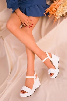 SOHO Beyaz Kadın Dolgu Topuklu Ayakkabı 16260