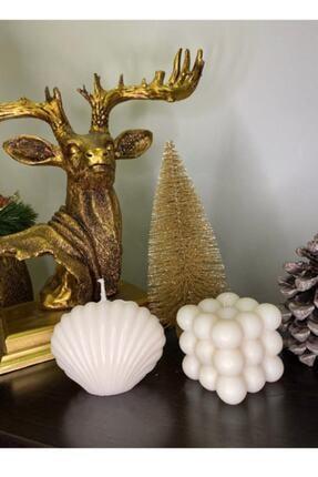 Favori Home 2'li Dekoratif Mum Seti Beyaz Renk