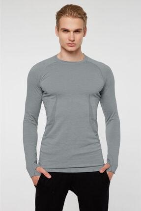 Jerf Maine Parmak Çıkışlı Uzun Kol Sporcu T-shirt Açık Gri