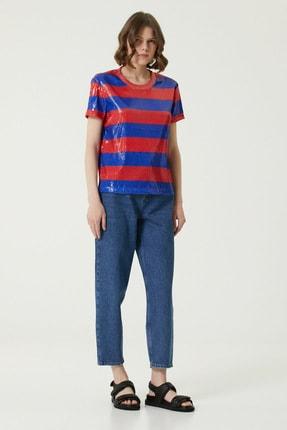 Network Kadın Basic Fit Mavi Kırmızı Şeritli Payetli T-shirt 1080041