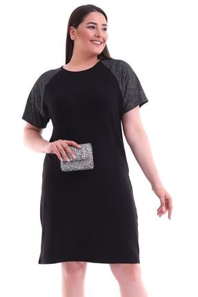 Alesia Kadın Siyah Omuzu Simli Viskon Büyük Beden Elbise