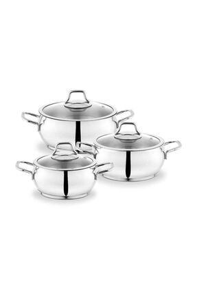 Schafer Cookhaus 6 Parça Midi Çelik Tencere Seti-gümüş