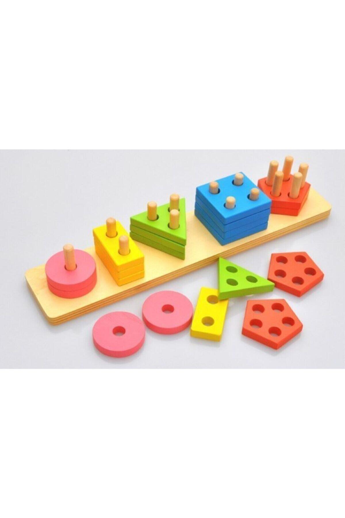 SİNKA Ahşap Eğitici 5'li Geometrik Şekil Yerleştirme Bultak Oyunu 1