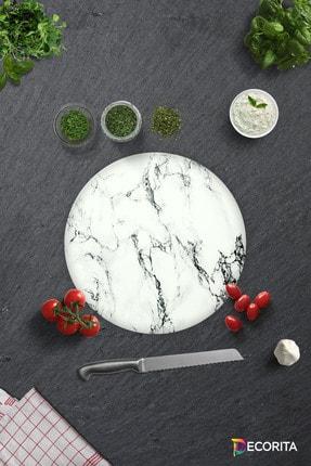 Decorita Beyaz Mermer Görünümlü | Cam Kesme Tahtası - Cam Kesme Tablası | Daire Çap 32cm