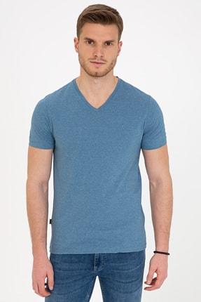 Pierre Cardin İndigo Mavi Slim Fit V Yaka T-Shirt