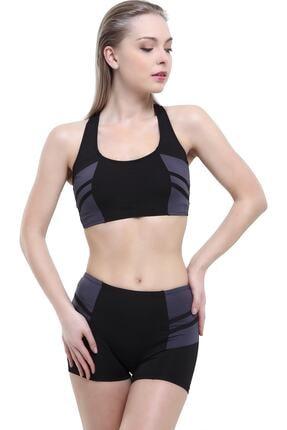 Argisa Kadın Siyah Modelli Şeritli Badili Şortlu Bikini Takımı