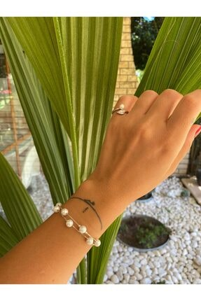 by dys jewelry Incili Yaprak Serçe Parmak 925 Ayar Gümüş Yüzük