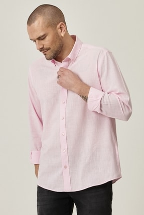 AC&Co / Altınyıldız Classics Erkek Pembe Tailored Slim Fit Dar Kesim Düğmeli Yaka %100 Koton Gömlek
